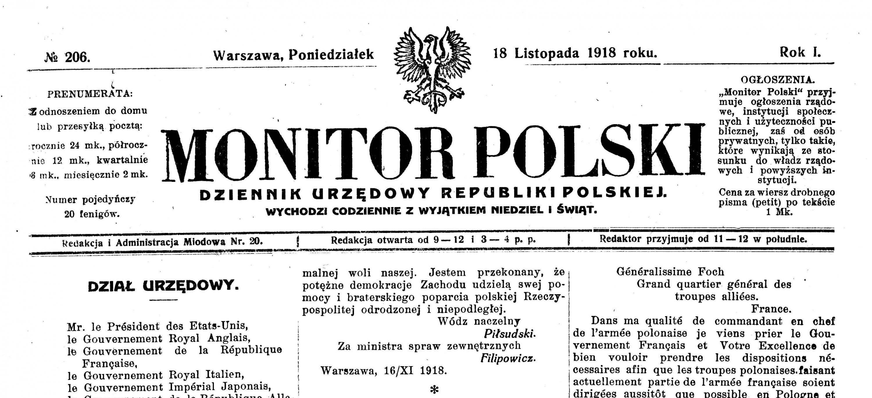 Note Of The Restoration Of An Independent Polish State